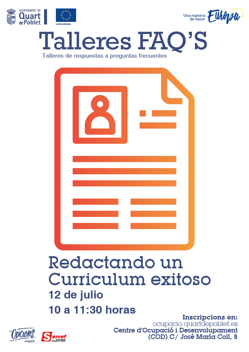 El Ayuntamiento organiza un nuevo taller gratuito sobre redacción del currículum